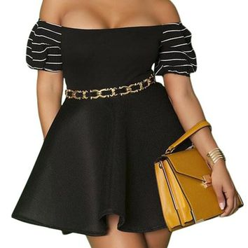Black Plus Size Pleated Off-the-shoulder Skater Dresses