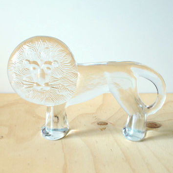 Kosta Boda Grand Lion by Erik Hoglund Glass Figurine Swedish Design Paperweight