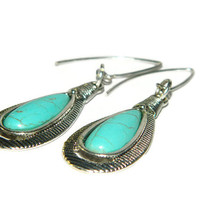 Turquoise Earrings, Teardrop Dangles