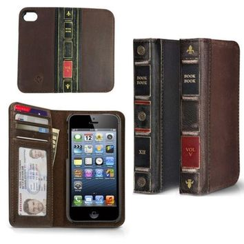 CREYUG3 Retro Style Vintage BOOK L Oldeather Case Flip Cover Wallet for Iphone 4Iphone 4SIphone 5Iphone 5S = 1946199108