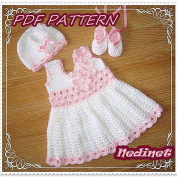 Crochet baby dress pattern, crochet dress set pattern, crochet hat shoes pattern, 0-12 months sizes dress pattern, How to make baby dress