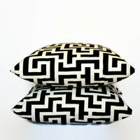 Set of 2 Black and White Decorative Throw Pillows // Black and White Pillow Covers // Geometric Pillows // Black and White Home Decor