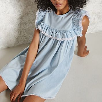 Frayed Ruffle Shift Dress
