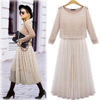 Long-Sleeve Layer Top Shirt With Insert Chiffon Skirt
