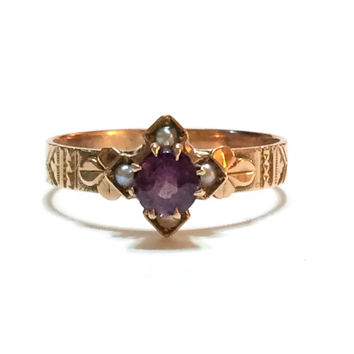 Victorian Rose Gold and Amethyst Ring, Seed Pearls, 14K Gold, Alternative Engagement Ring, Gemstone Jewelry, 1800s, Antique Jewelry