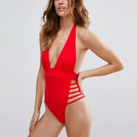 ASOS Ultra Strappy High Leg Cut Out Plunge Swimsuit at asos.com