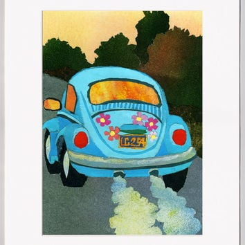 VW Bug - Retro Collage Art Print - FREE Shipping - FREE Custom Mat - Frame-able Wall Art - Volkswagon Beetle Flower Power Art (PMEM2013008)