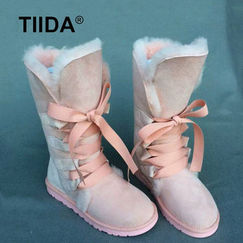 TIIDA  Fashion High Snow boots Women boots 100% Genuine Sheepskin Leather Lace up Long boots Natural Fur Warm Wool Winter Boots