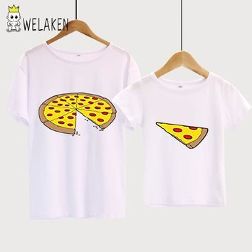 weLaken Family Matching Outfits Pizza Print Family t-shirt 2017 New Arrival Short Sleeve Cotton Top Father Son Shirt Family Look