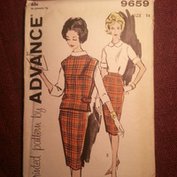Uncut 1960's Advance Sewing Pattern, 9659! Size 14 Medium/Women's/Misses/Straight Skirts/Extended Shoulders Poncho/Button Up Collared Blous