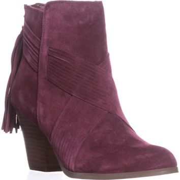 Yellow Box Exceed Zip-Up Tassel Pull Booties, Burgundy, 8 US