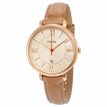 Fossil Womens ES3487 Tan Leather Band with Gold Case Watch