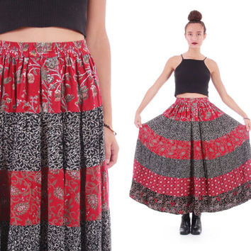 Tiered Patchwork Boho Skirt India Rayon Full Flowy Maxi Red Black Witch Grunge Hippie Festival Clothing Womens Size Small Medium