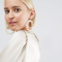 ASOS Pearl Hoop Earrings at asos.com