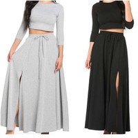 New 2 Piece Shirt And Skirt High Split Black  Maxi Skirt Size Small