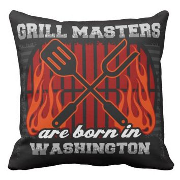 Grill Masters Are Born In Washington Throw Pillow