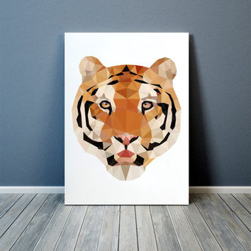 Tiger poster Animal print Geometric art Wall decor TOA81