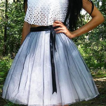 New White-Black Patchwork Grenadine High Waisted Tulle Tutu Homecoming Party Cute Elegant Midi Skirt