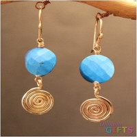 "Turquoise with hammered swirls, 1-1/4"" Earring Gold Or Silver"