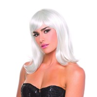 White Solid Color Doll Bangs Wig