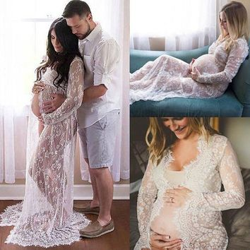 Spring Summer Lace Maxi Maternity Dress Pregnant Photography Photo Props Fancy Women Maternity Clothing Dresses Black White S-XL