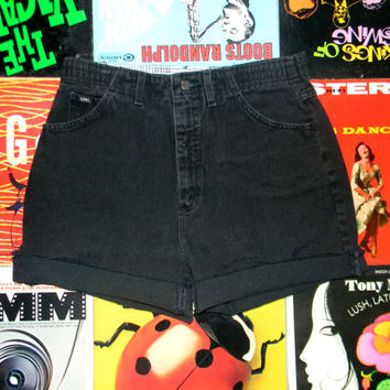 High Waisted Denim Shorts - 90s Black Stone Washed Jean Shorts - High Waist, Cut Off, Frayed, Rolled Up LEE BRAND Shorts Size 12 Large L