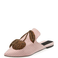 Sanayi313 Checkered Cherry-Embroidered Mule