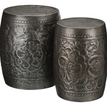 Embossed Pewter Metal Indoor Outdoor Stools / Ottoman / Tables (Set of 2)