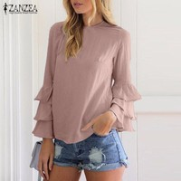 ONETOW Long Sleeve Solid Blusas