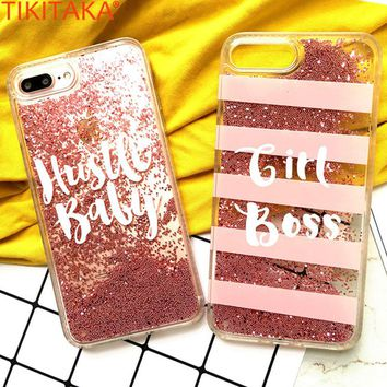 Luxury Glitter Phone Case For iPhone 6 6s Covers Pink Gold Beads Quicksand Liquid Case For iPhone 7 7 Plus Glitter Bling Case
