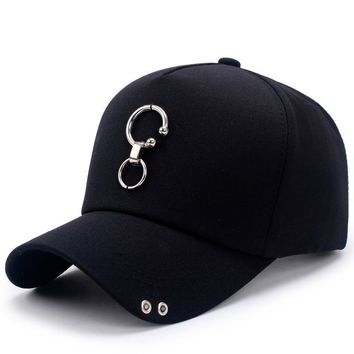Iron ring Solid Cotton Baseball Caps for Men Women hat Spring Autumn Golf Casual adjustable 7cm big brim cap