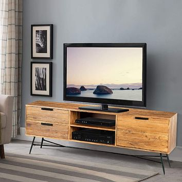 Roomy Wooden Media Console with Slanted Metal Base, Brown and Black By The Urban Port