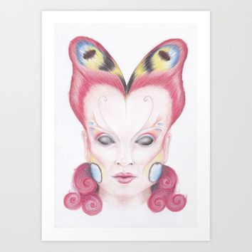 Peacock Butterfly Girl Art Print by drawingsbylam