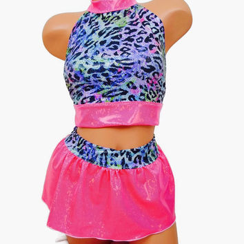 Rainbow leopard halter top and mini skirt / rave outfit / club wear