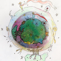 Little Prince paperweight Asteroid B612 handpainted on stone with fox, baobab, snake, rose and sheep