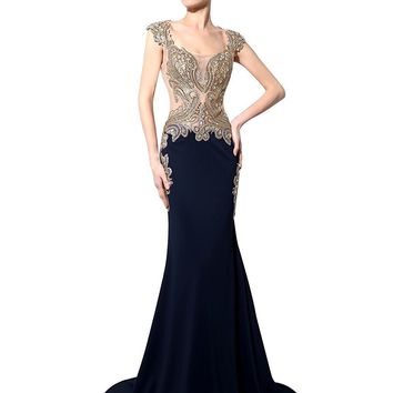 Topwedding US Shipping Womens Rhinestone Long Lace Formal Mermaid Evening Prom Dresses