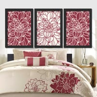 Red Bedroom Wall Art Red Bathroom Wall Art Bedroom Pictures Flower Wall Art Flower Pictures Dahlia Flower Prints Set of 3 Home Decor
