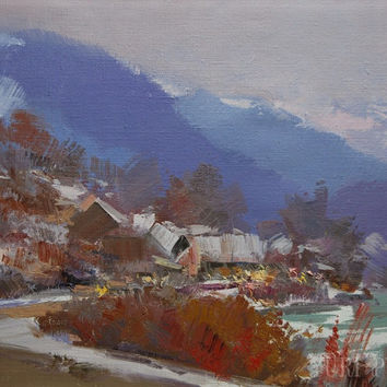 Blue landscape painting mountain, Oil painting, Modern landscape art winter snow