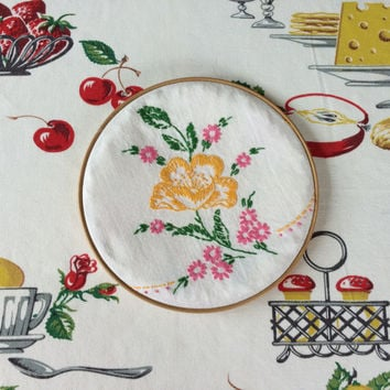 Hoop Art with Vintage Embroidery Yellow and Pink Flowers Wooden Hoop