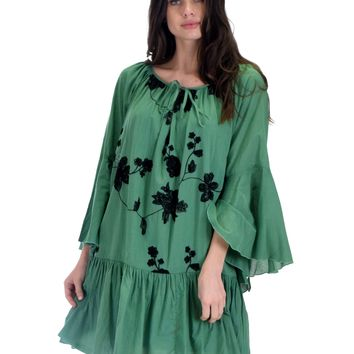 SL3531 Green Long Bell Sleeve Swing Dress With Floral Embroidery Detail