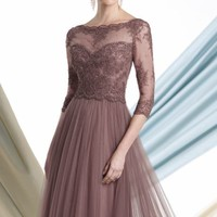 Sheer Lace Applique Gown by Mon Cheri Montage