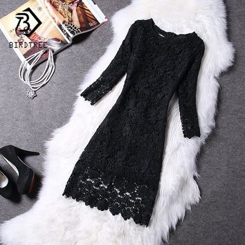 2018 Spring New Arrival Hollow Out Lace Slim Women Dress Korean Style  Elegant Solid Above-Knee Pencil Dress Office Lady D7D803C