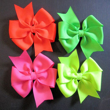 Limited Edition - Bright NEON Large Pinwheel Style Boutique Hair Bows - Neon Green, Neon Pink, Neon Orange & Neon Lime - Choose One (1)