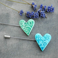 Lace Heart Brooch Pottery Jewelry Ceramic Pin