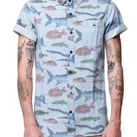 Modern Amusement Tropical Fish Short Sleeve Denim Shirt - Mens Shirt - Blue