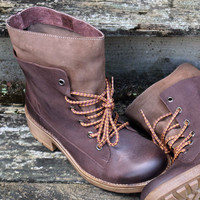 Free Ride Brown Lace Up Ankle Boots