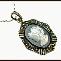 CIJ sale Cameo necklace of Sterling Silver Marcasite Mother of Pearl Onyx