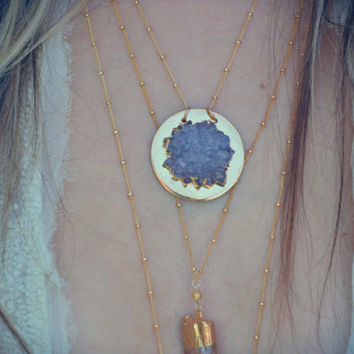 MOON SPHERE /// Electroformed Druzy Necklace /// 24kt Gold /// Lux Divine