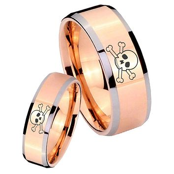 His Hers Rose Gold Beveled Skull Design 2 Tone Tungsten Wedding Rings Set