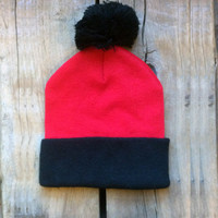 Deadstock Unisex Red Pom Pom Beanie, Vintage Colorblock Knit Hat